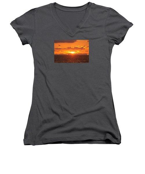 Orange Skies At Dawn Women's V-Neck T-Shirt (Junior Cut) by Robert Banach
