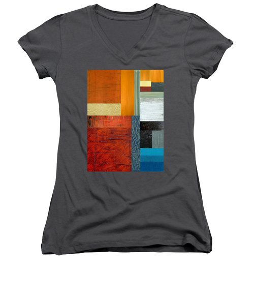 Women's V-Neck T-Shirt (Junior Cut) featuring the painting Orange Study With Compliments 1.0 by Michelle Calkins