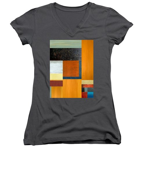 Women's V-Neck T-Shirt (Junior Cut) featuring the painting Orange Study With Compliments 2.0 by Michelle Calkins