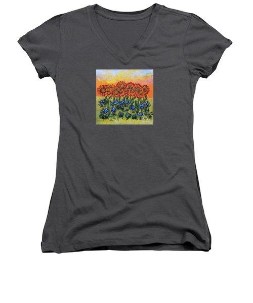Orange Sunset Flowers Women's V-Neck