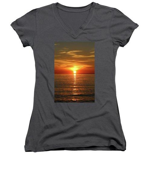 Orange Sunset Lake Superior Women's V-Neck T-Shirt (Junior Cut) by Paula Brown
