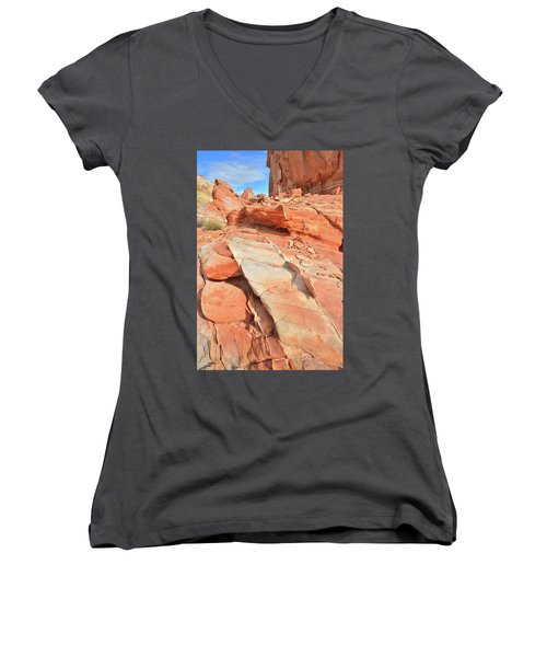 Orange Valley In Valley Of Fire Women's V-Neck T-Shirt