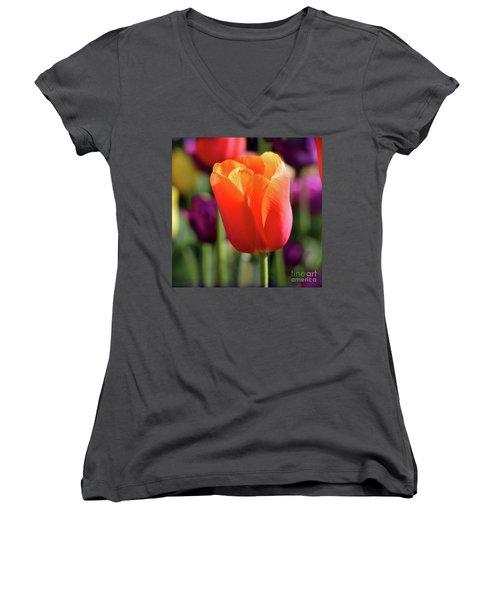 Orange Tulip Square Women's V-Neck