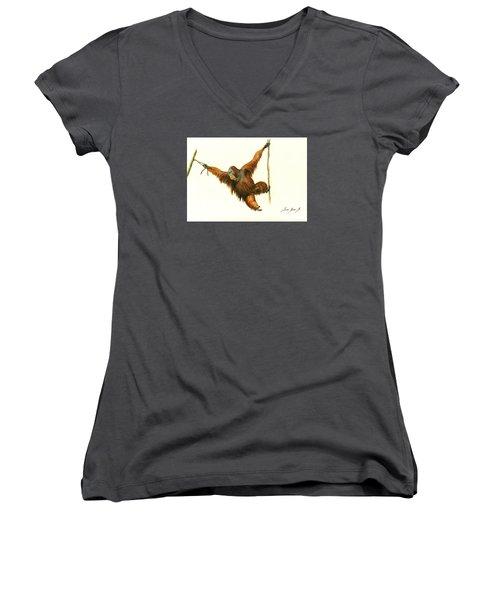 Orangutan Women's V-Neck T-Shirt