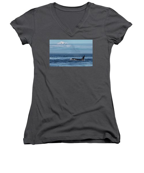 Orca Male With Mt Baker Women's V-Neck