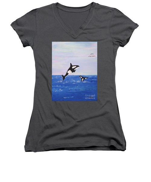 Orcas In The Morning Women's V-Neck
