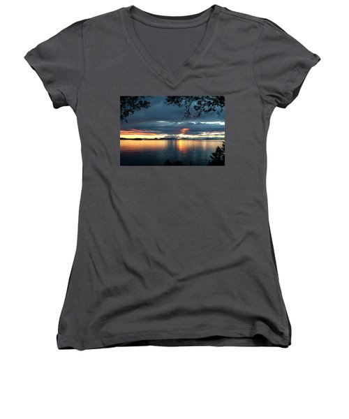 Orcas Island Sunset Women's V-Neck (Athletic Fit)