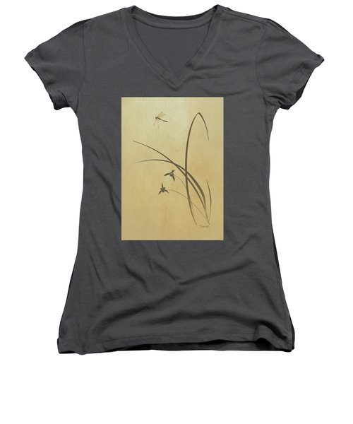 Orchid And Dragonfly Women's V-Neck (Athletic Fit)