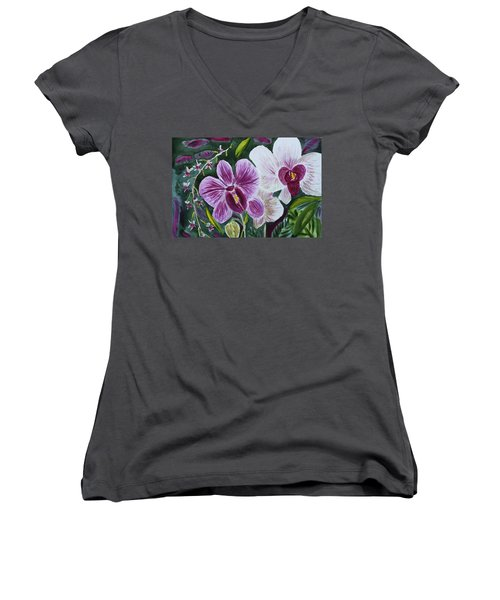 Women's V-Neck T-Shirt (Junior Cut) featuring the painting Orchid At Aos 2010 by Donna Walsh