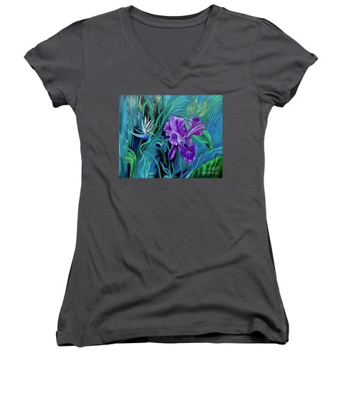 Orchid Jungle Women's V-Neck (Athletic Fit)