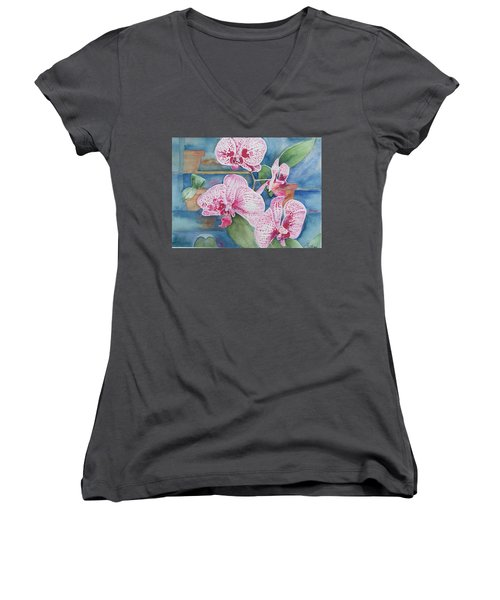 Orchids Women's V-Neck T-Shirt (Junior Cut) by Christine Lathrop