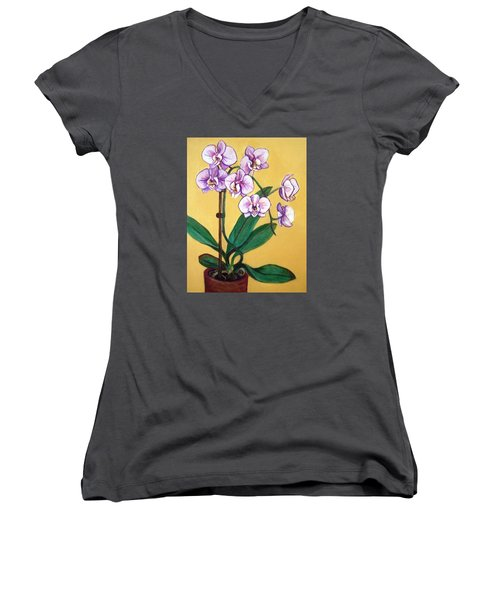 Women's V-Neck T-Shirt (Junior Cut) featuring the painting Orchids by Laura Aceto