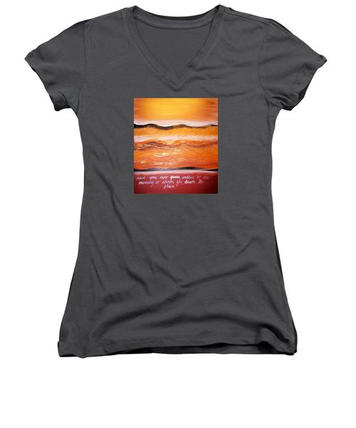 Women's V-Neck T-Shirt featuring the painting Orders To The Morning by Winsome Gunning