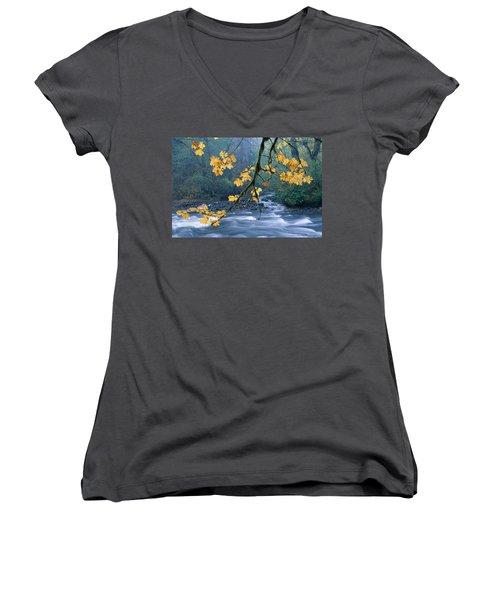 Oregon, Cascade Mountain Women's V-Neck T-Shirt (Junior Cut) by Carl Shaneff - Printscapes