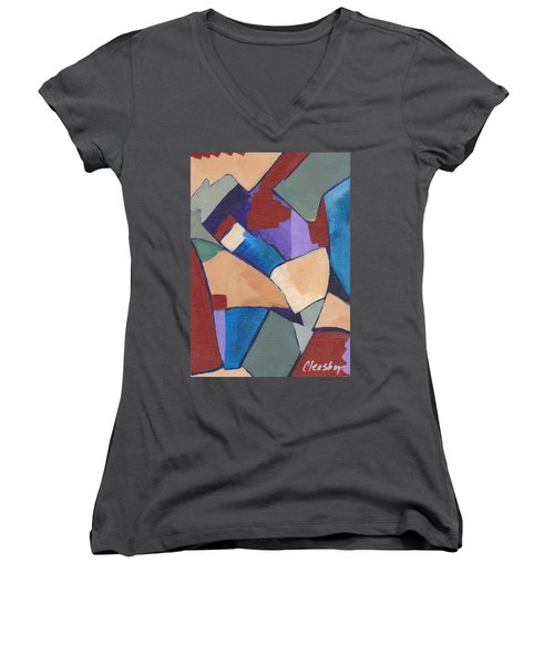 Organic Abstract Series II Women's V-Neck T-Shirt (Junior Cut) by Patricia Cleasby