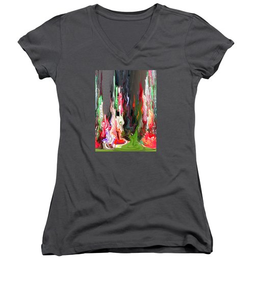 Organic Impressions 4 Women's V-Neck T-Shirt (Junior Cut) by Cedric Hampton