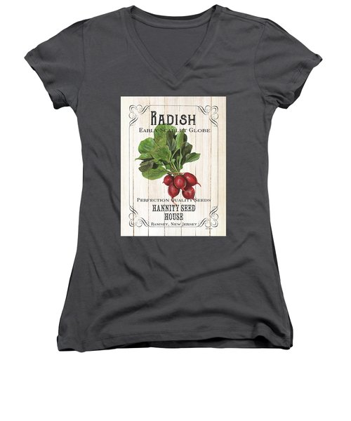 Women's V-Neck T-Shirt (Junior Cut) featuring the painting Organic Seed Packet 3 by Debbie DeWitt
