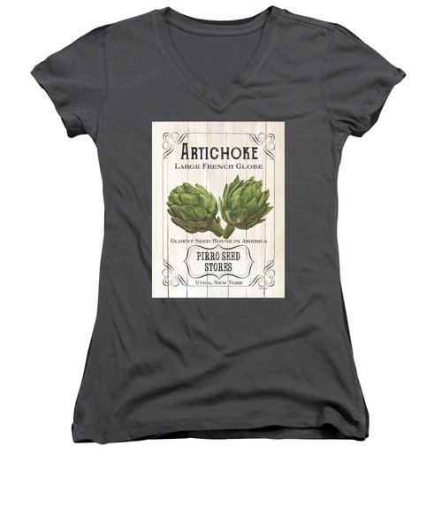 Women's V-Neck T-Shirt (Junior Cut) featuring the painting Organic Seed Packets 1 by Debbie DeWitt