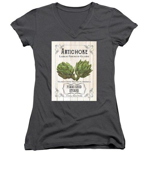 Organic Seed Packets 1 Women's V-Neck T-Shirt (Junior Cut) by Debbie DeWitt