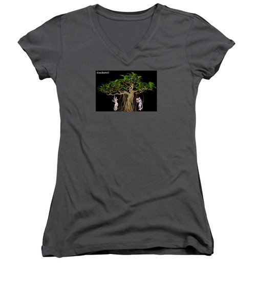 Oriental Bonsai Gods Women's V-Neck T-Shirt (Junior Cut) by Gary Crockett