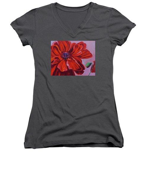 Oriental Poppy With Bud Women's V-Neck T-Shirt