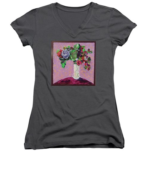 Women's V-Neck T-Shirt (Junior Cut) featuring the painting Original Bouquetaday Floral Painting 12x12 On Canvas, By Elaine Elliott, 59.00 Incl. Shipping by Elaine Elliott