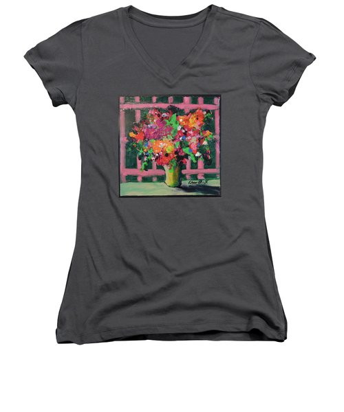 Women's V-Neck T-Shirt (Junior Cut) featuring the painting Original Bouquetaday Floral Painting By Elaine Elliott 59.00 Incl Shipping 12x12 On Canvas by Elaine Elliott