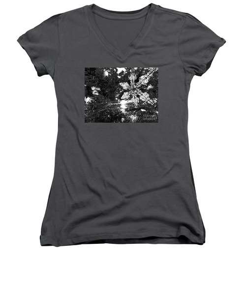 Women's V-Neck featuring the photograph Ornamental Snowflake by Robert Knight