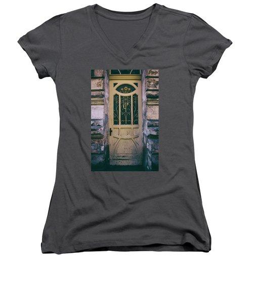 Ornamented Doors In Light Brown Color Women's V-Neck T-Shirt (Junior Cut) by Jaroslaw Blaminsky