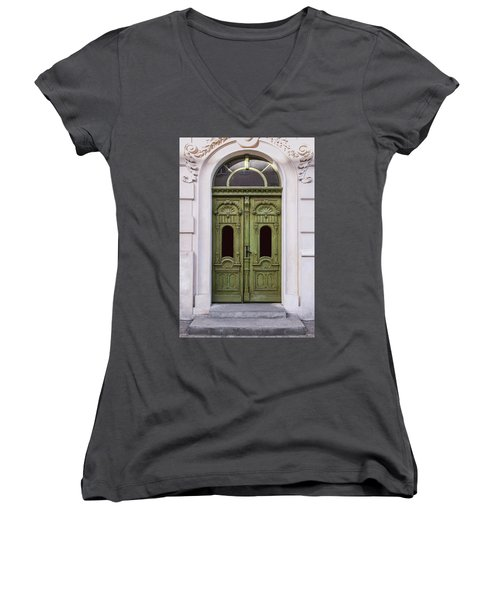 Ornamented Gates In Olive Colors Women's V-Neck T-Shirt (Junior Cut) by Jaroslaw Blaminsky