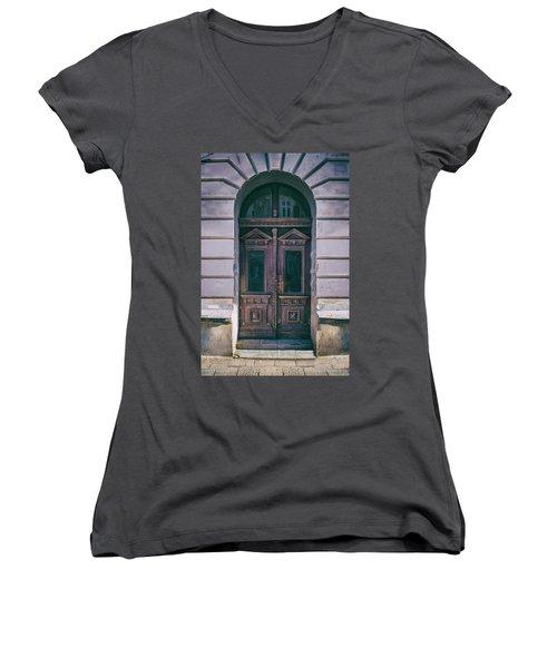 Ornamented Wooden Gate In Violet Tones Women's V-Neck T-Shirt (Junior Cut) by Jaroslaw Blaminsky