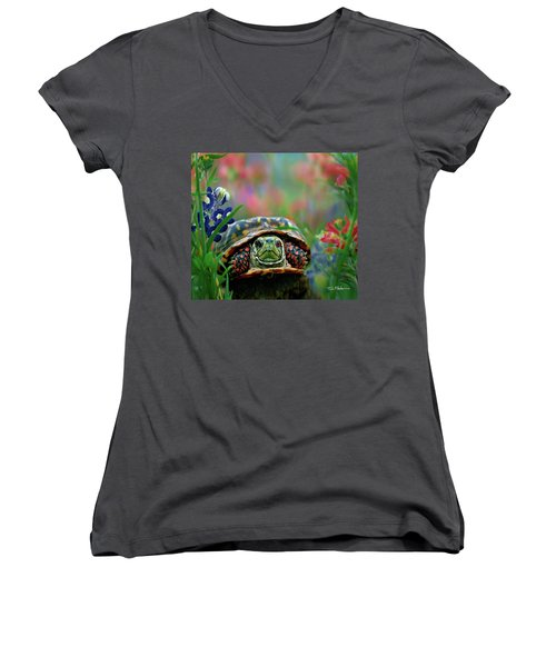 Ornate Box Turtle Women's V-Neck (Athletic Fit)
