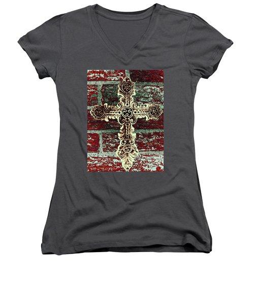 Ornate Cross 1 Women's V-Neck