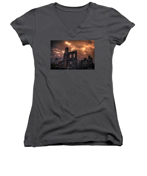 Women's V-Neck T-Shirt featuring the photograph Osler Castle by Michaela Preston