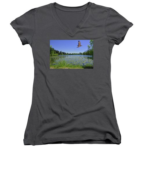 Osprey Fishing At Wapato Lake Women's V-Neck (Athletic Fit)