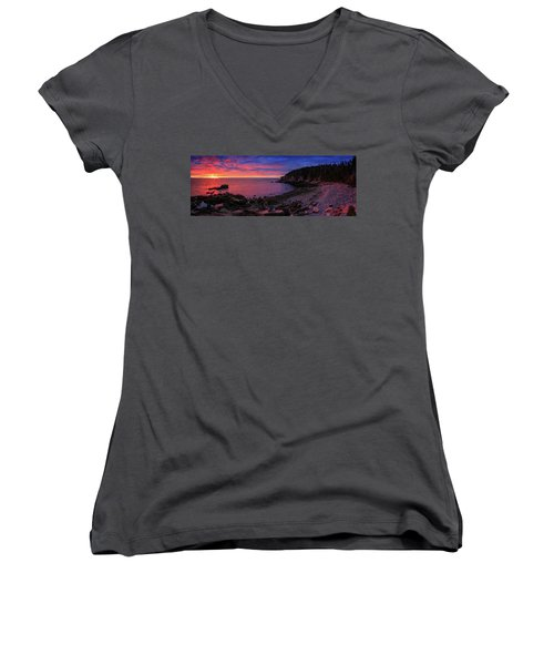 Women's V-Neck T-Shirt (Junior Cut) featuring the photograph Otter Beach Maine Sunrise  by Emmanuel Panagiotakis