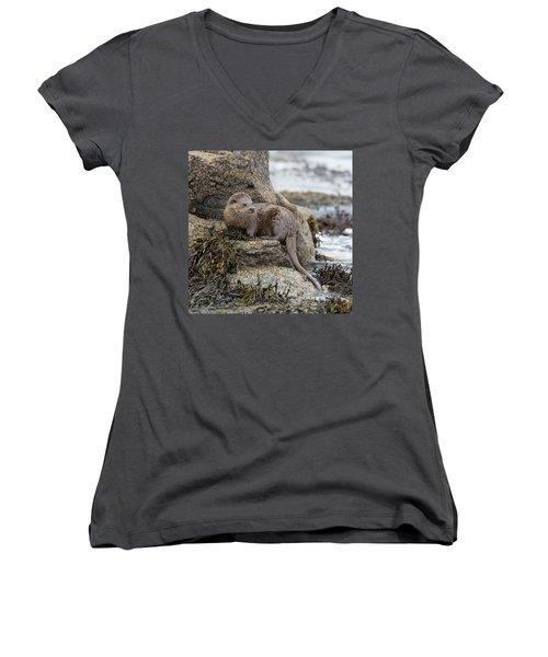 Otter Beside Loch Women's V-Neck