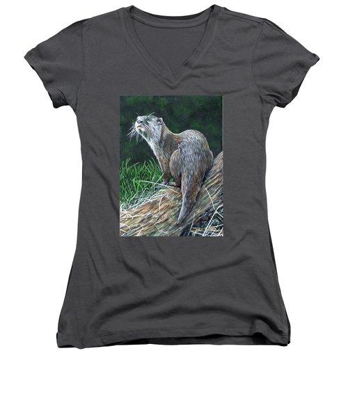 Otter On Branch Women's V-Neck