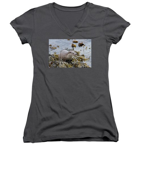 Otter On Seaweed Women's V-Neck
