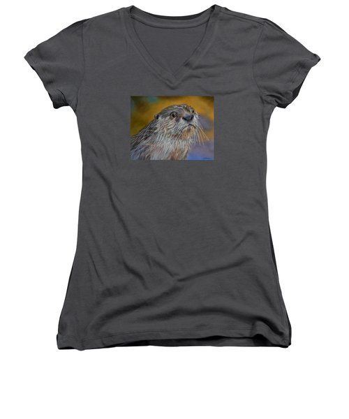 Women's V-Neck T-Shirt (Junior Cut) featuring the painting Otter Or Not by Ceci Watson