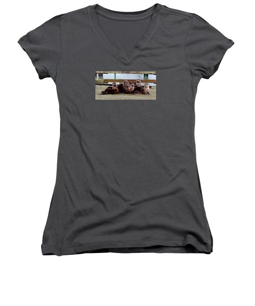 Otters Posing Women's V-Neck T-Shirt (Junior Cut) by Karen Molenaar Terrell