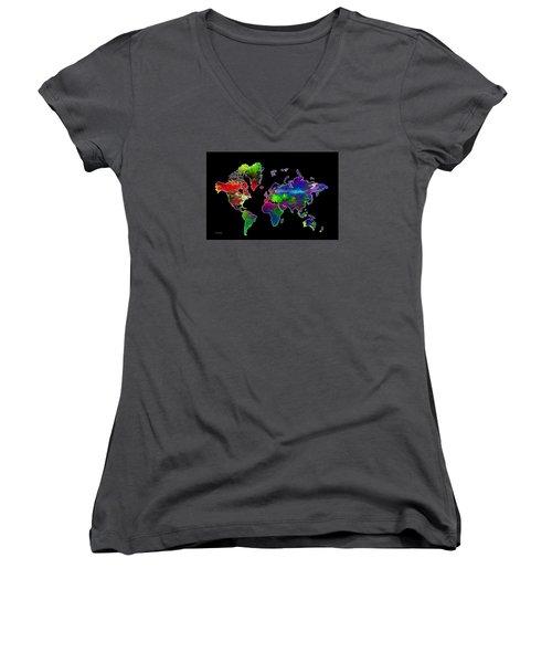 Our Colorful World Women's V-Neck T-Shirt (Junior Cut) by Randi Grace Nilsberg