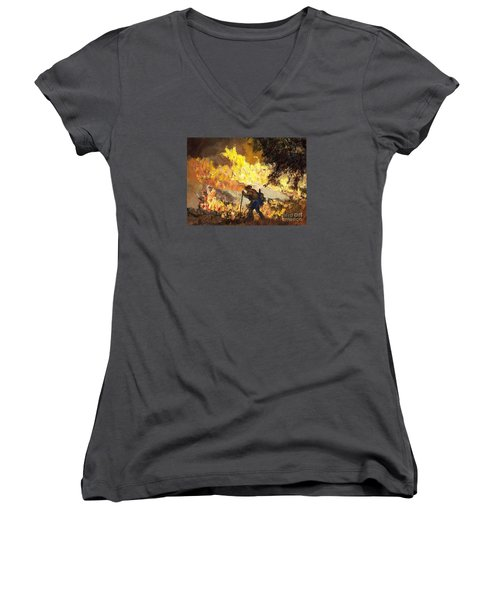 Our Heroes Tonight Women's V-Neck T-Shirt (Junior Cut) by Randy Sprout