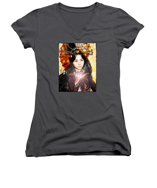 Women's V-Neck T-Shirt (Junior Cut) featuring the painting Our Lady Of China by Suzanne Silvir