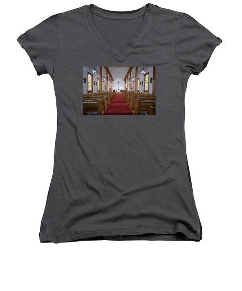Our Lady Of Mount Carmel Women's V-Neck T-Shirt (Junior Cut) by Andy Crawford