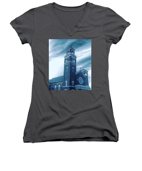 Our Lady Of Sorrows Under Wispy Skies Women's V-Neck