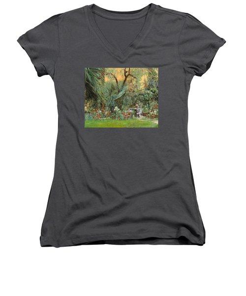 Our Little Garden Women's V-Neck T-Shirt (Junior Cut) by Guido Borelli