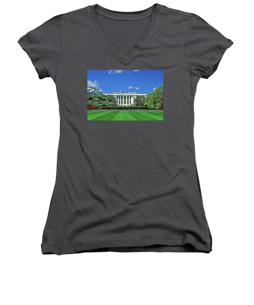 Women's V-Neck featuring the painting Our White House by Harry Warrick