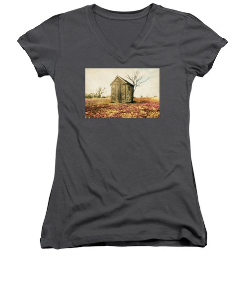 Women's V-Neck T-Shirt (Junior Cut) featuring the photograph Outhouse by Julie Hamilton