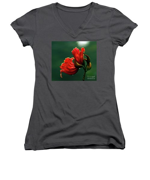Out Of Africa- Mixed Media- Photo Composite- Altered Art Women's V-Neck